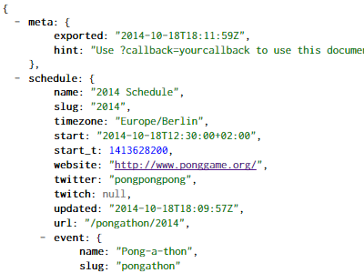 Screenshot showing the JSON export of a schedule