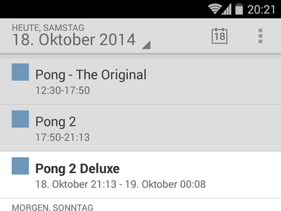 Screenshot showing the default Android calendar showing imported schedule items
