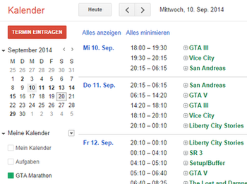 Example screenshot of Google Calendar, displaying a few calendar entries from the GTA Marathon schedule